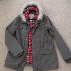 BILLABONG Military Hooded Jacket w/ Faux Fur
